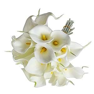 Tinksky 10pcs Elegante Vero Tocco Realistico Artificiale PU Calla Lily Fiore Mazzi Mazzi Di Fiori Da Sposa (Bianco)