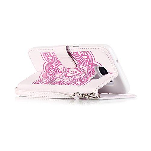 Samsung Galaxy S7 Edge Hülle, SainCat Ledertasche Brieftasche im BookStyle PU Leder Muster Hülle Wallet Case Folio Schutzhülle Bumper Handytasche Backcover Handy Tasche Flip Cover Buchstil Klapptasche Campanula-Weiß Rosa