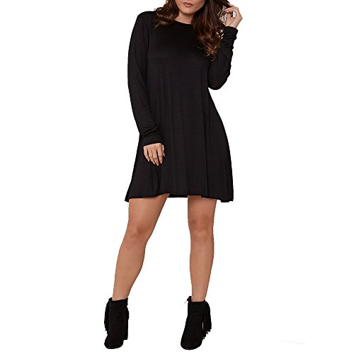 Simply Chic Outlet SCO New Womens Plain Swing Dress Ladies Flared Stretch Top Tunic Plus Size (20, Black)
