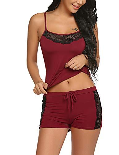 ADOME Damen Schlafanzug Nachthemd Sommer Kurz Pyjama Shorty Spitzen Nachtwäsche Negligee Set Mit Verstellbaren Trägern (Damen-pyjama)