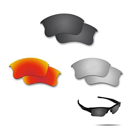fiskr anti-saltwater Polarisierte Ersatz-Gläser für Oakley Flak Jacket XLJ 3Paar Pack, Stealth Black & Metallic Silver & Fire Red