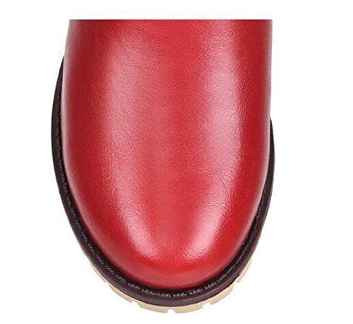 Spessore - cavaliere con tacco stivali stivali con un tubo breve stivali red