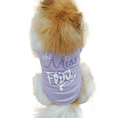 Smniao Sommer Baumwolle Haustier Hund Kleidung Princess Weste T-Shirt Hemd Kostüme für Kleine Hund Welpen Katze (S, Lila) (Lila Welpe-kleidung)
