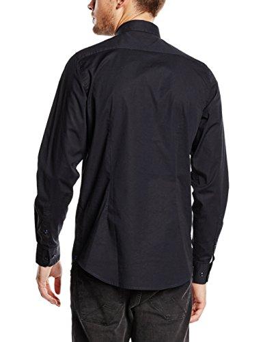 Tommy Hilfiger Herren Freizeithemd Core Stretch Slim Poplin Shirt Schwarz (FLAG BLACK 083)