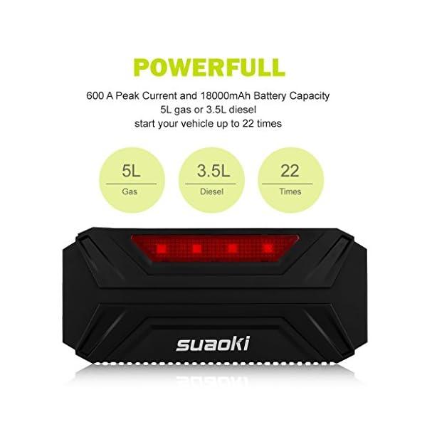 Suaoki T3 – Arrancador de Coche 600A, Jump Starter de 18000mAh para Arranque de motor (Batería portátil, 12/16/19V, Multifuncional) Negro