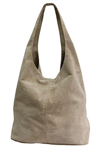 Damen Ledertasche Shopper Wildleder Handtasche Schultertasche Beuteltasche WL818 (Hellsand) (Handtasche Leder Beige)