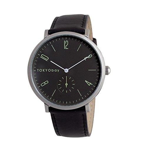 tokyobay-t336-bk-hombres-del-acero-inoxidable-negro-banda-de-cuero-esfera-de-color-negro-reloj-intel
