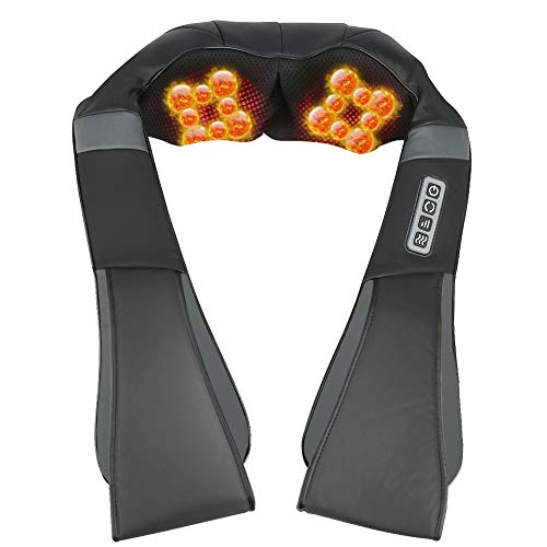 ESSEASON Masajeador de Espalda Shiatsu - 16 Nodos Masajeador Cervical con 3D Amasamiento Profundo Rotación y Función de Calor, Relajación para Cuello y Hombros - Casa Oficina Coche