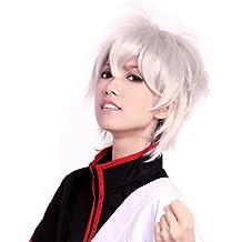 Prettyland C323 - 30cm peluca corta salvaje en color blanco en plata en capas para Cosplay