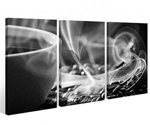 Schwarz, Weiß, Kaffee (Leinwand 3 tlg. Kaffee Bohnen schwarz weiß Küche Cafe Tasse Bild Wandbild 9A547 Holz-fertig gerahmt -direkt Hersteller, 3 tlg BxH:90x60cm (3Stk 30x 60cm))