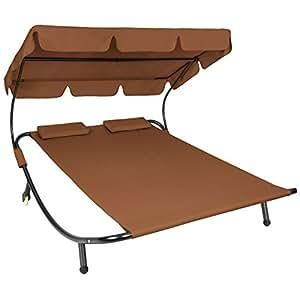 TecTake 2 places bain de soleil chaise longue de jardin transat avec pare-soleil + 2 coussins - diverses couleurs au choix - (Brun   no. 401222)