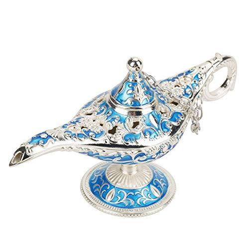 VIFERR Lámpara Genie Light, Legend Aladdin Magic Genie Light Wishing Pot Decor, Metal Tallado Hueco Leyenda Lámpara Hollow (Color : Azul)