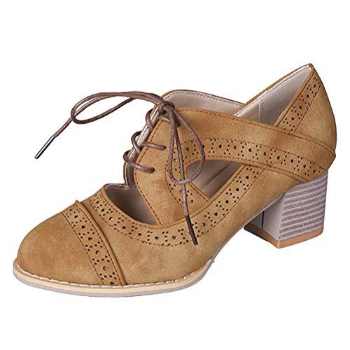 Tomwell Donna Sandali Scarpe col Tacco Vintage Cavo Stiletto Platform Pumps Stivaletti Scarpe Marrone 36 EU