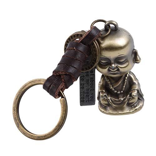 Hyhy Unisex Leder Buddha Schlüsselanhänger Vintage buddhistischen lustige Schlüsselanhänger Buddhismus Charme Schlüsselanhänger Geschenk für Tasche Auto Decor