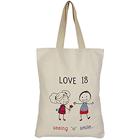 Cotton Canvas multiuso shopping bag con Graphic - romantiche idee regalo per lei - Cuore Canvas Tote