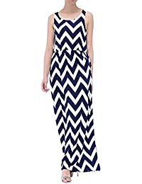 Womdee Damen Ärmellos Rund Ausschnitt Streifen Muster Maxi Kleid