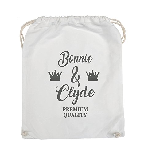 Comedy Bags - Bonnie & Clyde - PREMIUM MOTIV - Turnbeutel - 37x46cm - Farbe: Schwarz / Pink Weiss / Grau