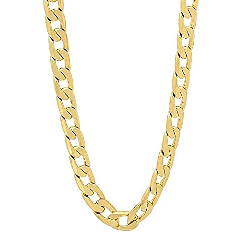 6mm 14k Gold Plated Beveled Cuban Link Curb Chain Necklace, 56 cm + Microfiber Jewelry Polishing Cloth