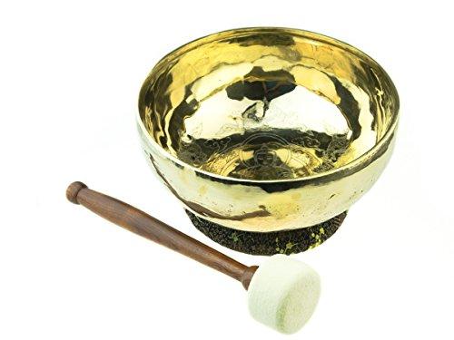 Exklusive Klangschale mit Medizinbuddha per Hand eingraviert und poliert, inkl. schwarzem Ring mit Drachenmuster und einem Holz-/ Filzklöppel -4071-A