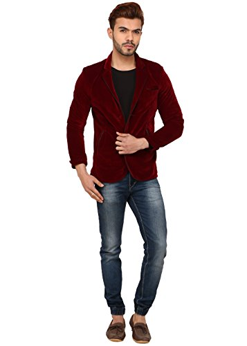 MM Fashion Mens Slim Fit Velvet Blazer MMJG-119 Maroon 36  available at amazon for Rs.1299