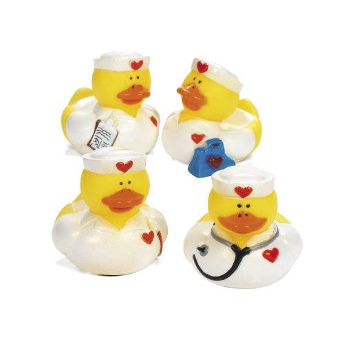 Gummienten als Krankenschwestern mit Herz 4 Stück Gummi-Ente, Spritzente Palandi®