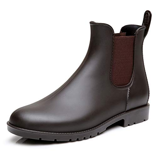 Pastaza Gummistiefel Damen Kurzschaft Regenstiefel Regenstiefeletten Frauen Ankle Chelsea Boots Kurze Gummistiefeletten Braun 37
