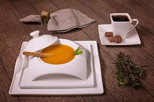 Moderne quadratisch weiß Porzellan Einzigartiges Geschirr Set-20Stück, Service für 4-von Little weiß dish-microwave Spülmaschinenfest 20 piece set weiß (Geschirr-sets Weiß Gibson)