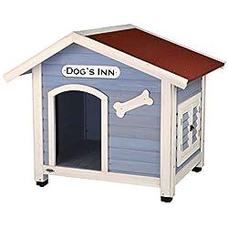 Trixie 39514 natura Hundehütte Dog's Inn, mit Satteldach, S-M: 91 × 80 × 80 cm, hellblau/weiß