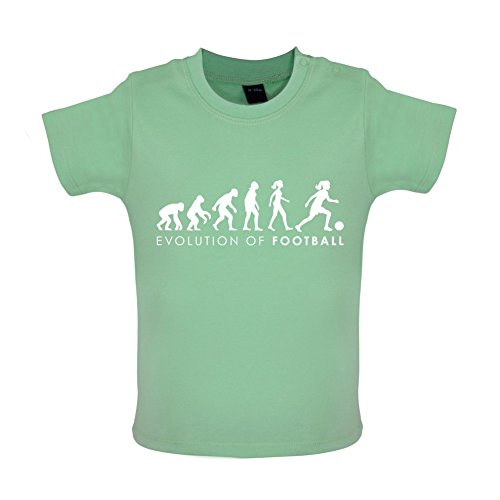 Evolution of Woman - Fussball - Baby T-Shirt - Mintgrün - 6 bis 12 Monate (Fußball-baby-t-shirt)