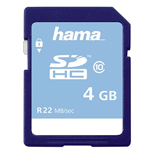 Hama Speicherkarte SDHC 4GB (SD-2.0 Standard, Class 10, High Speed, Datensicherheit dank mechanischem Schreibschutz, Beschriftungsfeld) (4 Gb Microsd-speicherkarte)