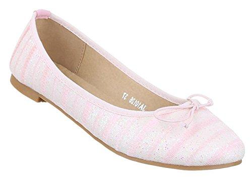 Damen-Schuhe Ballerinas | elegante Slipper mit Blockabsatz und Schleife in verschiedenen Farben und Größen | Schuhcity24 | perforierte Loafers Rosa