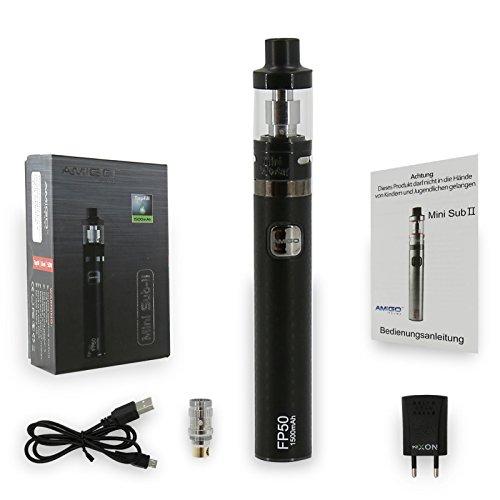 E Zigarette AMIGO FP50 1500mAh-0,5 Ohm, Mini Sub-II Version NOX24, 50W Starter Set, 1,6ml Topfill Sub-Tank, Verdampfer Liquid ohne Nikotin, schwarz, e-Shisha