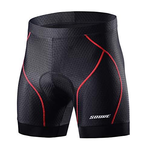 Souke Sports Herren Radunterhose Herren Radfahren Unterwäsche 4D Gepolstert Atmungsaktiv Fahrrad Unterwäsche Short mit Rutschhemmendem Beingreifer