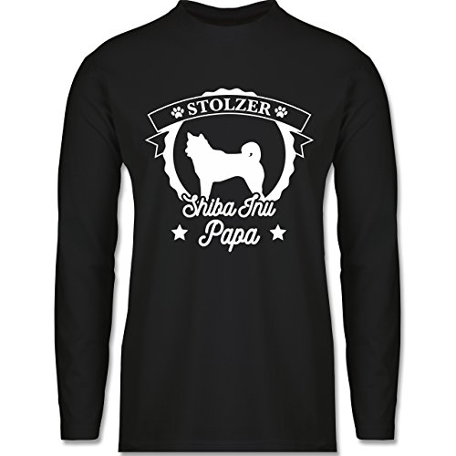 Shirtracer Hunde - Stolzer Shiba Inu Papa - Herren Langarmshirt Schwarz