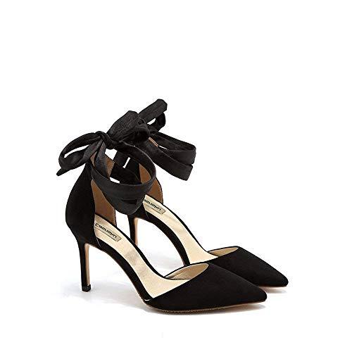 Eeayyygch Schuhe 8 cm, 10 cm Schwarz Europa und die Vereinigten Staaten Weibliche Sandalen, Sommer Quer Krawatte Spitz Hochhackigen, Flacher Mund Sexy Fein Mit (Farbe : Black8cm, Größe : 36 EU)