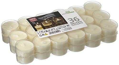 Smart Planet® Set di candele ambiente da 36 pezzi, lumini bianchi in contenitore trasparente, lunga durata