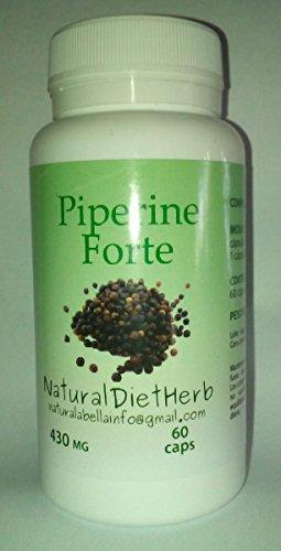 Piperina Forte ( Pimientas negra(titulado 95{6212415aa08ef0d4514edf2490d0f68588a7d10090192269c6e197d85a3f7632}) y de cayena) 430mgrs 60 caps.