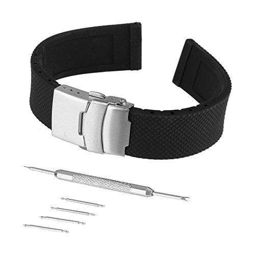 BEWISH 24mm Silikon Uhrenarmbänder Gummi Uhrenarmband Schwarz Uhrenarmbänder Ersatzband Uhrarmband Edelstahl Metall Steel Faltschließe Wechselarmband Uhr Armband Wrist Strap...