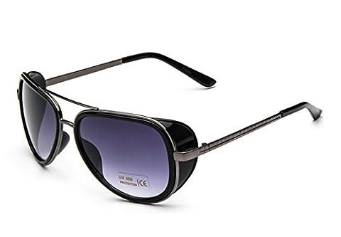 Oath_song Metal Frame Plastic Side Shield Aviator 58mm Sunglasses (black+purple)