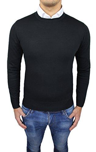 Maglione pullover uomo nero slim fit aderente casual maglia golf girocollo invernale lana (XXL)