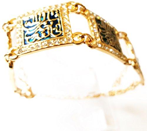 Islamic blu musulmana turco in acciaio INOX, con cubic-Bracciale da donna placcato oro 18 k, acciaio INOX, idea regalo donna-Oh Sura Allah, Allah Quran auguri islamiche Sparkling regalo Fitr al-Adha al-Adha Ramadan Hajj Umrah Arafah giorno di al-Adha kursi ayatal ghadeerل