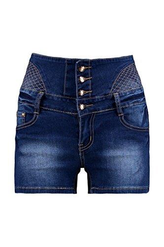 Damen Mittleres Blau Erin 4 Button High Waist Denim Hotpants Mittleres Blau