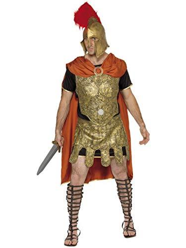 Luxuspiraten - Herren Männer römischer Krieger Soldat Kostüm mit Tunika, Umhang, Rüstung, Brustplatte und Rock, perfekt für Karneval, Fasching und Fastnacht, M, Gold