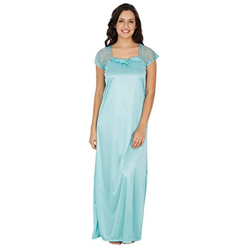 Klamotten Criss Cross Sea Green Satin Long Nightwear