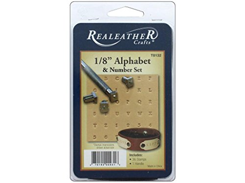 Realeather Stempel-Set, Alphabet und Zahlen, 0,8 cm, verchromt -
