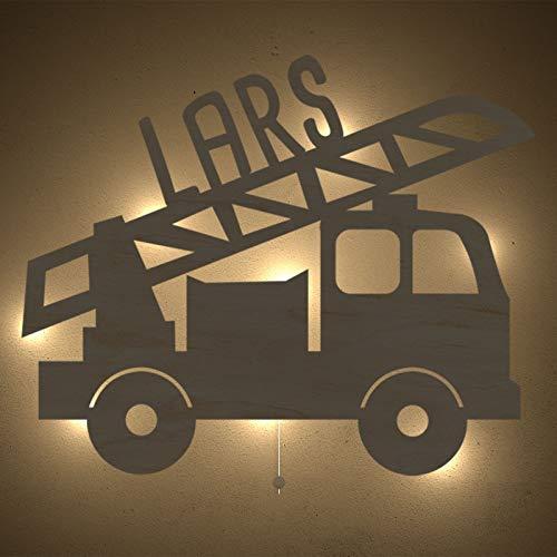 Nachtlicht Lars das Löschfahrzeug Kinderzimmer-Lampe/Tauf-Geschenk oder zur Geburt/Personalisiert mit Wunsch-Name für Mädchen oder Jungen Schlummerleuchte Babyzimmer Stilleuchte [Energieklasse A++] -