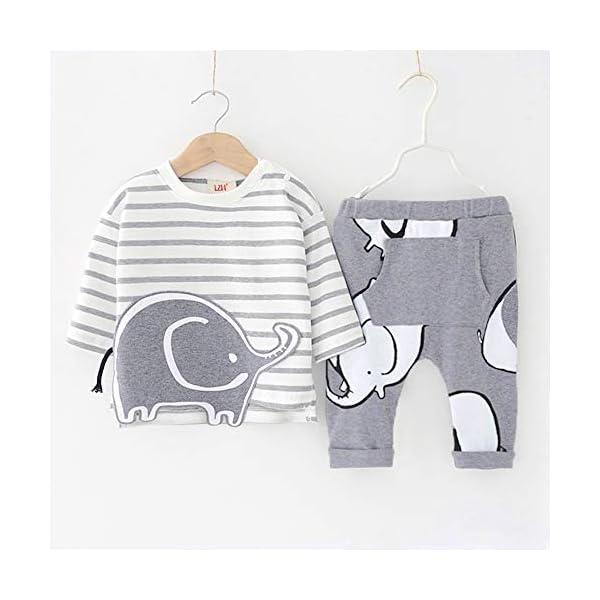 LZH Toddler Baby Boys 2Pcs Conjunto de Ropa de Manga Larga con Estampado de Elefante Tops para bebés Pantalones Trajes… 3