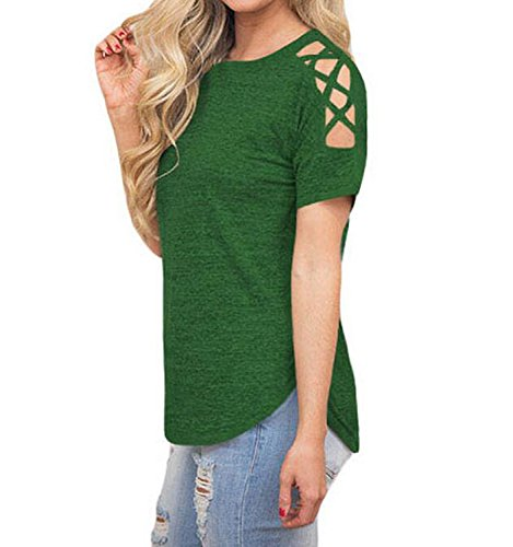 DINGANG® Neue Sommer Damen Rundhals Hohl Strap Kurzarm Bluse T-Shirt Oberteile Grün