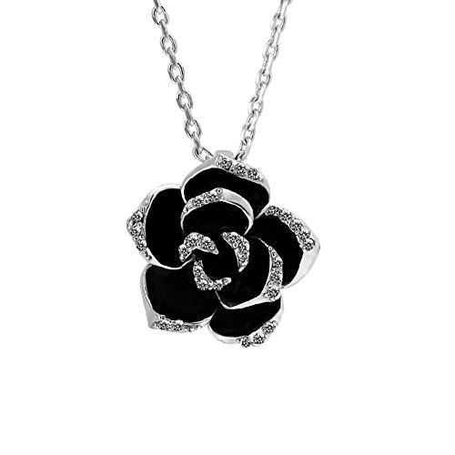 Emorias 1 Stück Halskette mit Diamanten Legierung rosa schwarz Pfingstrose edel Mädchen Schmuck Geschenk Strass Anhänger Damen Mode Schmuck Accessoires 2.6cm *2.6cm silberfarben -