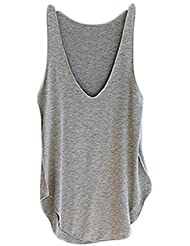 Ularma 2016 moda verano Dama de mujer sin mangas con cuello en v chaleco caramelo sueltas blusas camiseta (gris, tamaño libre)